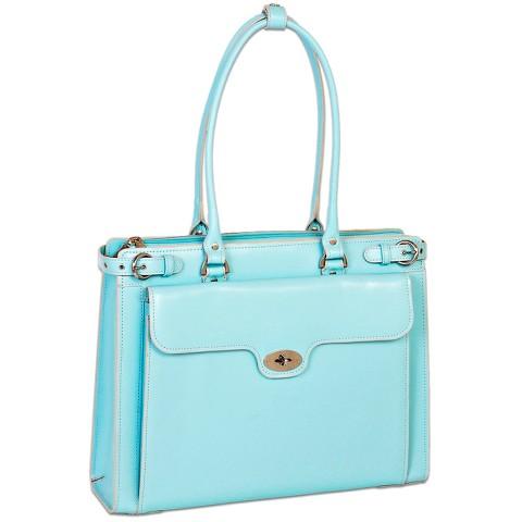 McKleinUSA Winnetka Leather Ladies' Briefcase with Removable Sleeve - Aqua Blue