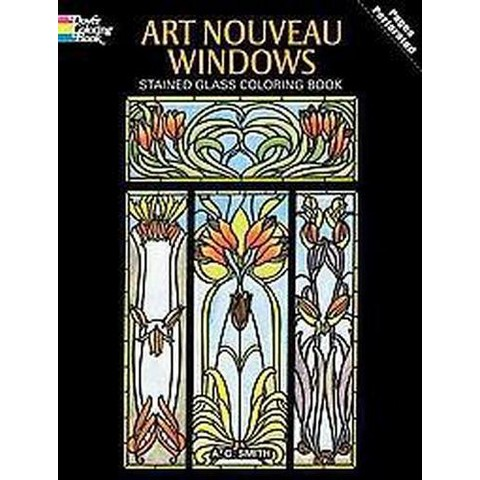 Art Nouveau Windows Stained Glass Adult Coloring Book