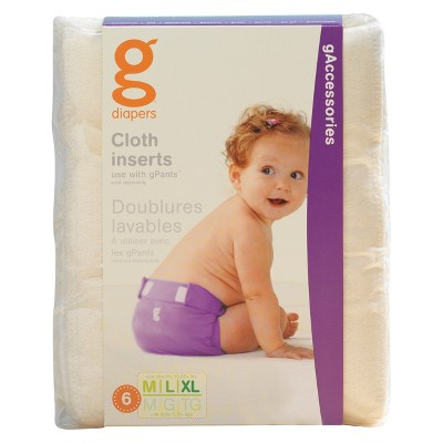 gDiapers Cloth Inserts - 6pk, med/large/xl