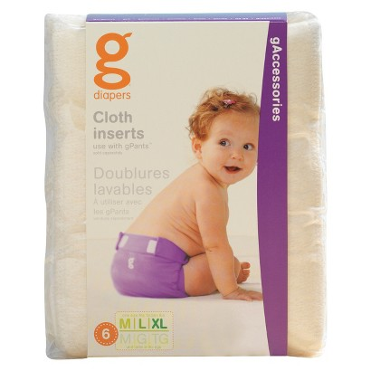 gDiapers Cloth Inserts 6 Pack - Sizes S,M-XL
