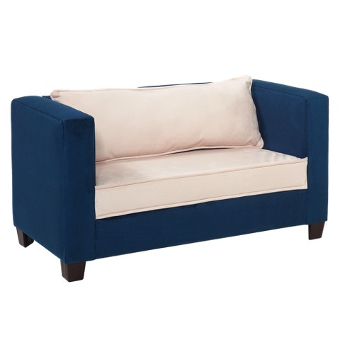 Modern Kids Sofa - Navy Blue and Beige