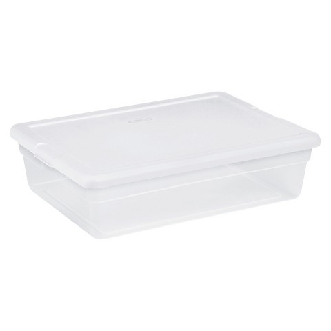 Sterilite® Underbed Storage Tote Set of 10 - Transparent with White Lid 28 Qt.