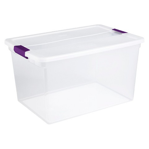 Sterilite® Latching Storage Tote Set of 6 - Transparent with Plum Latch 66Qt.