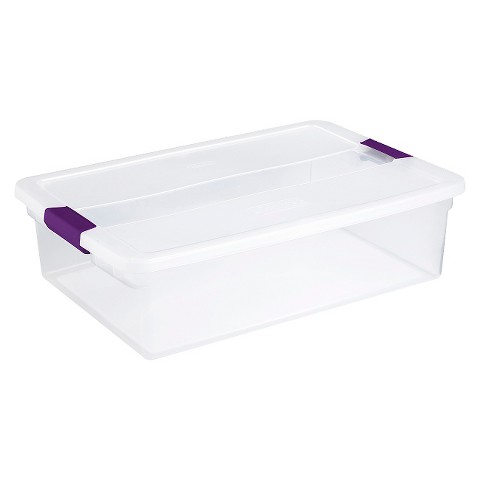 Sterilite® Latching Storage Tote Set of 6 - Transparent with Plum Latch 32Qt.