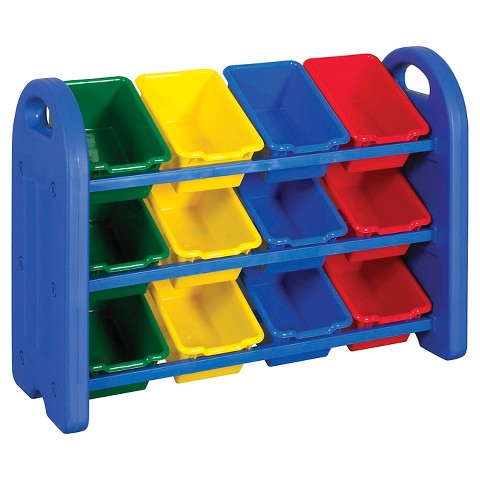 ECR4Kids® 3-Tier Storage Bin Organizer - Multicolor with 12 Bins
