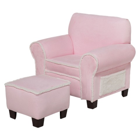 Kids Club Chair & Ottoman Set - Pink