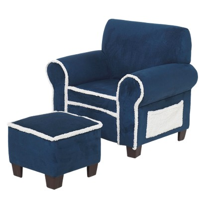 Kids Club Chair & Ottoman Set - Navy Blue