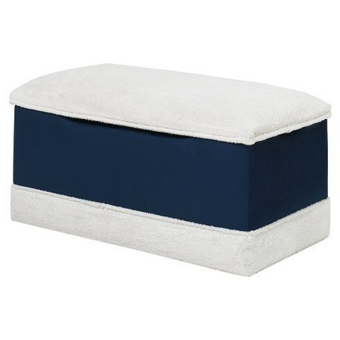 Deluxe Toy Box - Navy Blue and White