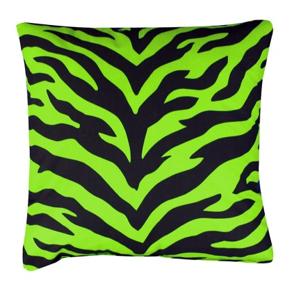 Zebra Print Square Decorative Pillow - Lime Green/Black