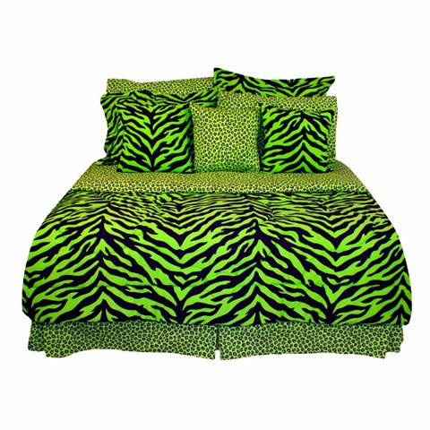 Zebra Print Bed in a Bag with Sheet Set - Lime Green/Black