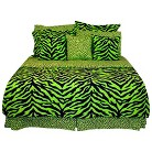 Zebra Bedding Collection - Lime Green/Bla...