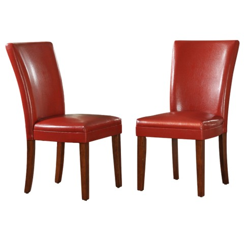 Elizabeth Parson Side Chair Wood/Red (Set of 2) - Homelegance