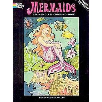 Mermaids Stained Glass Coloring Book (Paperback)