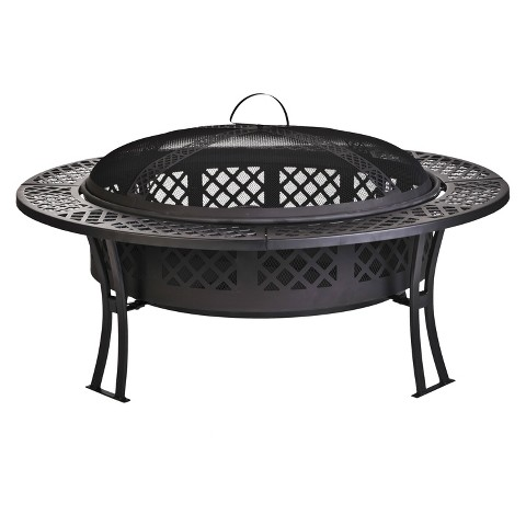 Diamond Mesh Fire Pit with Screen and Cover
