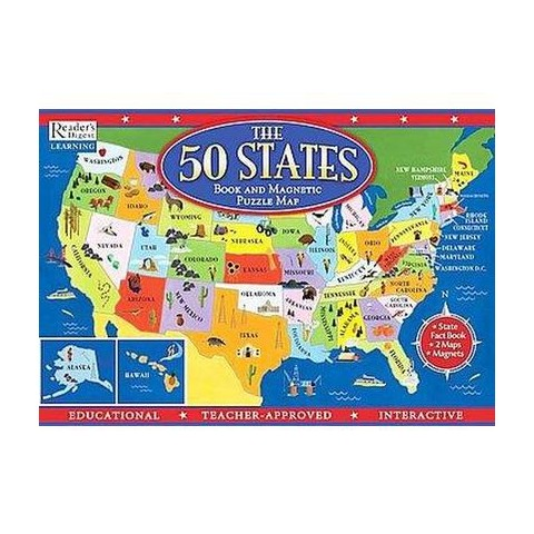 The 50 States Book and Magnetic Puzzle Map (Mixed media product)
