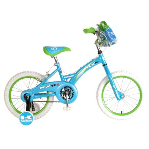 """Kawasaki Girls KX16G 16"""" Bike - Green/Blue"""