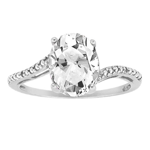 Oval White Topaz Ring in Sterling Silver - White (8x6mm)