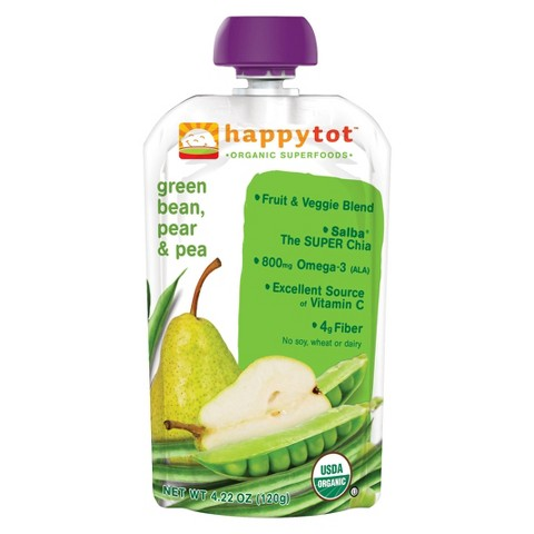 Happy Baby Happy Tot Organic Superfoods - Green Bean, Pear & Peas (16 Pack)