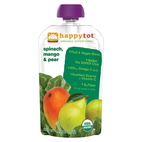 Happy Baby Happy Tot Organic Superfoods - Spinach, Mango & Pear (16 Pack)