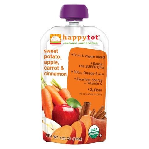 Happy Baby Happy Tot Organic Superfoods - Sweet Potato, Carrot, Apple & Cinnamon (16 Pack)