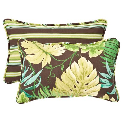 2-Piece Outdoor  Pillow Set - Brown/Green Floral/Stripe 18""