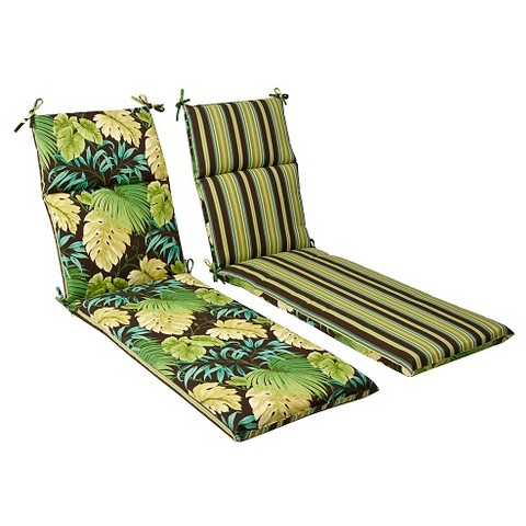 Outdoor Reversible Chaise Lounge Cushion - Brown/Green Floral/Stripe