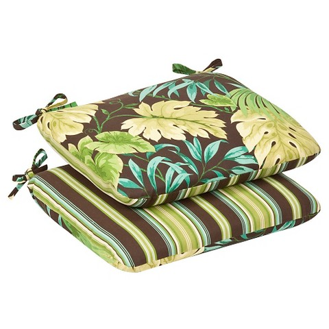 2-Piece Outdoor Reversible Seat Pad/Dining/Bistro Cushion Set - Brown/Green Floral/Stripe