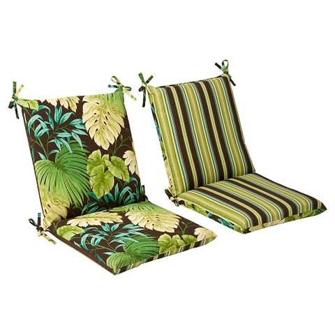 Outdoor Reversible Seat Pad/Dining/Bistro Cushion - Brown/Green Floral/Stripe