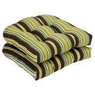Outdoor 2-Piece Chair Cushion Set - Brown/Green Stripe