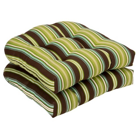 Outdoor 2-Piece Chair Cushion Set - Brown/Green Stripe