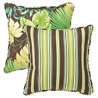 """2-Piece Outdoor Reversible Square  Pillow Set - Brown/Green Floral/Stripe 18"""""""
