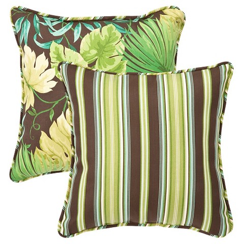 2-Piece Outdoor Reversible Square  Pillow Set - Brown/Green Floral/Stripe 18""