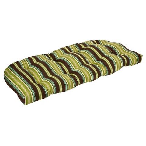 Outdoor Bench/Loveseat/Swing Cushion - Brown/Green Stripe