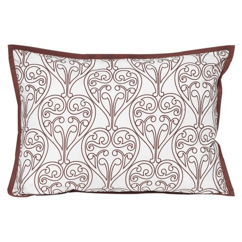Bacati Damask Decorative Pillow - Pink/Chocolate