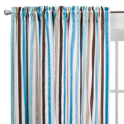 Bacati Aqua/chocolate Mod  Stripes Curtain Panel