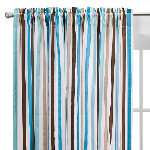 Bacati Aqua/chocolate Mod  Stripes Curtain Panel