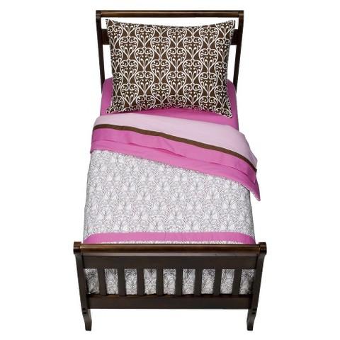 Bacati Pink/Chocolate Damask  Toddler Bedding Set