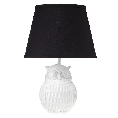 Owl Lamp - White with Black Shade
