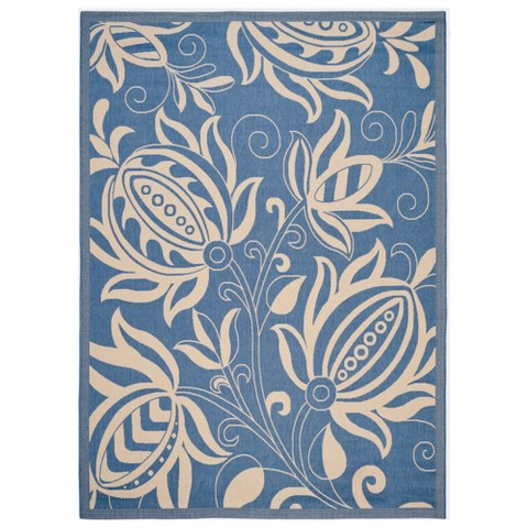 Palm Patio Rug - Blue/Natural