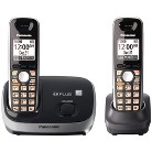 Panasonic Dect 6.0 Expandable Cordless Phone System (KX-TG6512B) with 2 Handsets - Black
