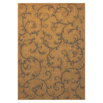 Provincial Scroll Rectangular Patio Rug - Chestnut/Sand