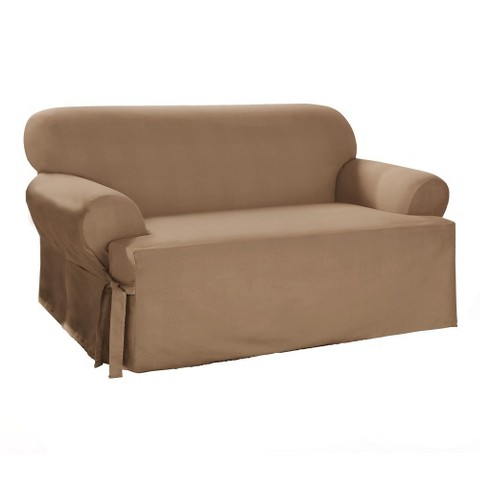 Sure Fit Cotton Duck Tcushion Loveseat Slipcover Tar