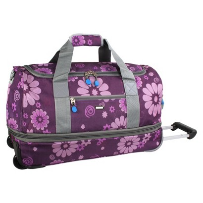 J World Stadium Carry-on Rolling Duffel Bag - Purple Flower