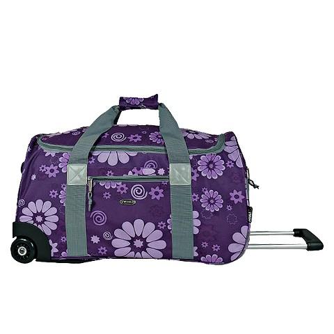 J World Tamarak Carry-on Rolling Duffel Bag - Purple Flower