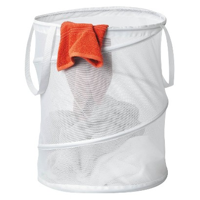 Large Mesh Pop Open Hamper White