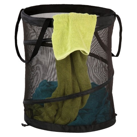Large Mesh Pop Open Hamper Black