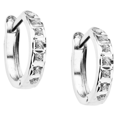 14Kt. White Gold Diamond Accent Round Hinged Hoop Earrings - White