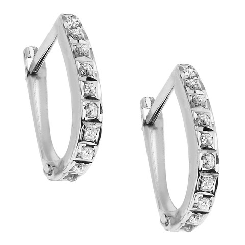 14Kt. White Gold Diamond Accent Oval Hinged Hoop Earrings - White
