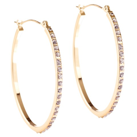 14K Yellow Gold Diamond Accent Oval Hoop Earrings - Yellow