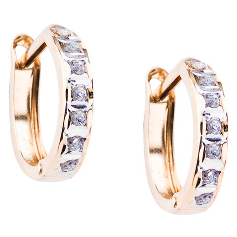 14Kt. Yellow Gold Diamond Accent Round Hinged Hoop Earrings - Yellow
